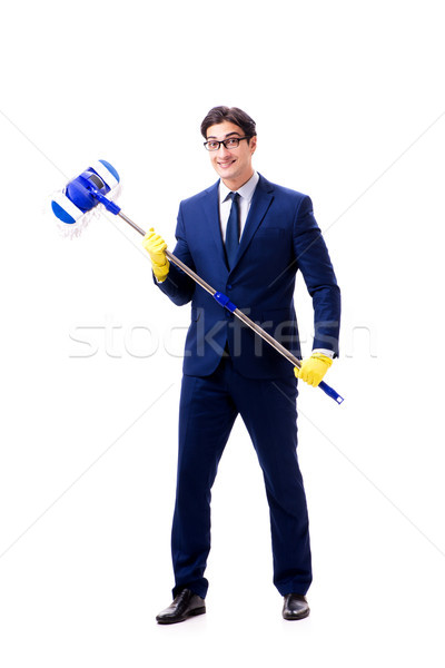 Handsome businessman with the mop isolated on white background  Stock photo © Elnur