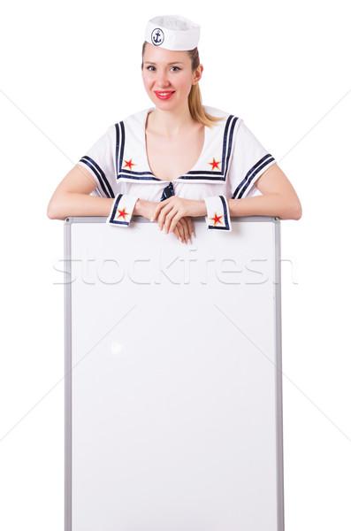 Kobieta marynarz pokładzie biały sexy szczęśliwy Zdjęcia stock © Elnur