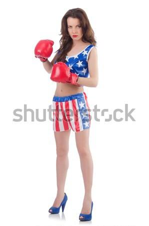 Kobieta bokser uniform symbolika sportu ciało Zdjęcia stock © Elnur