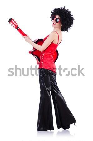 Man vrouwelijke kleding zingen achtergrond microfoon Stockfoto © Elnur