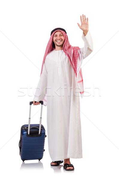 Árabe homem bagagem branco fundo empresário Foto stock © Elnur