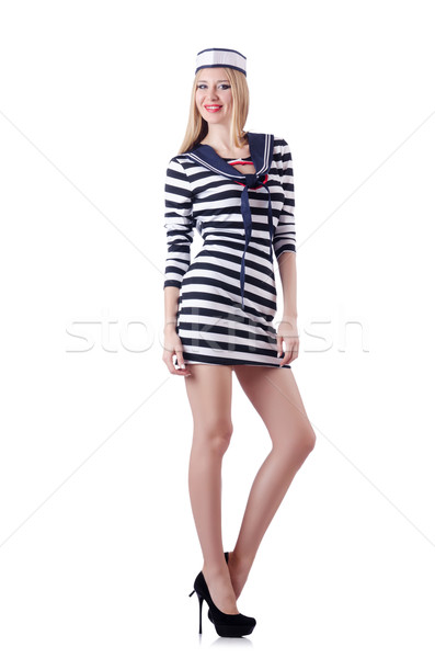 Donna marinaio isolato bianco sorriso moda Foto d'archivio © Elnur