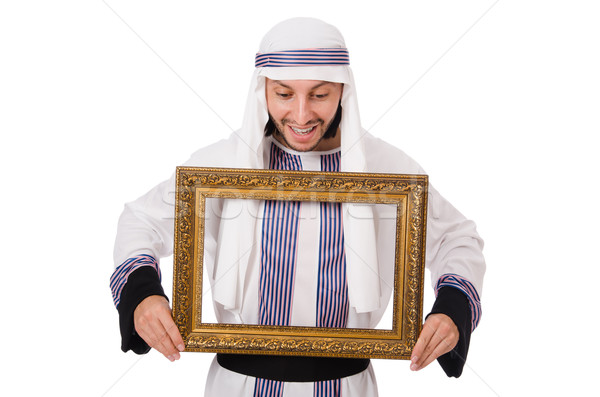 Young arab with picture frame on white Stock photo © Elnur