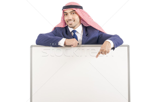 Arab man with blank board for message Stock photo © Elnur