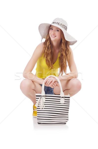 Junge Mädchen Panama Handtasche Mode Konzepte isoliert Stock foto © Elnur
