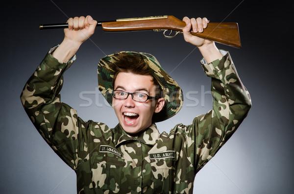 Сток-фото: смешные · солдата · темно · человека · фон · зеленый