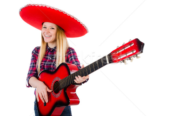 Woman in sombrero hat with guitar Stock photo © Elnur