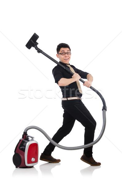 Homem aspirador de pó isolado homem branco branco negócio Foto stock © Elnur