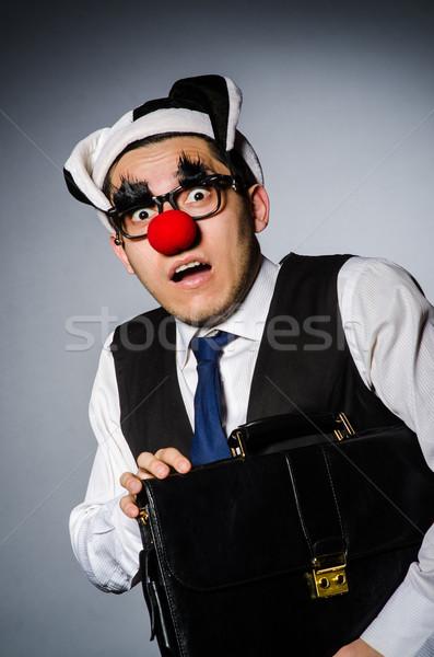 Bohóc üzletember vicces buli arc férfi Stock fotó © Elnur