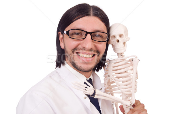 Funny teacher with skeleton isolated on white Stock photo © Elnur