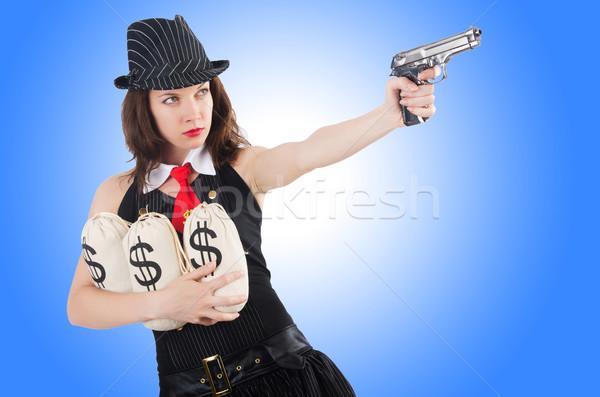 Kadın gangster tabanca para model arka plan Stok fotoğraf © Elnur
