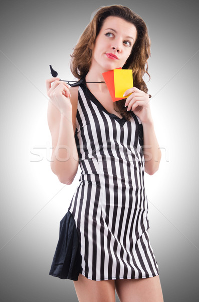 Woman referee with card on white Stock photo © Elnur