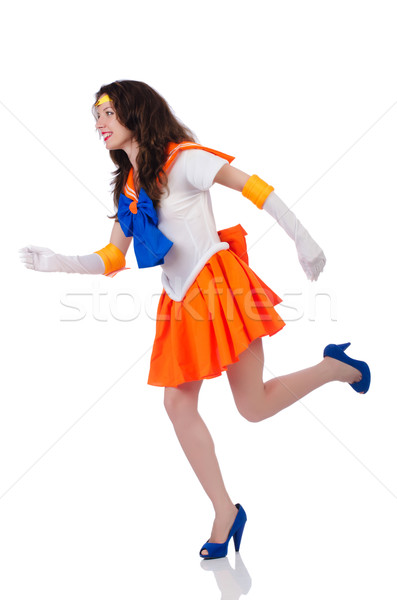 Model wearing sailor moon suit isolated on white Stock photo © Elnur