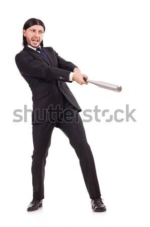 Adam beysbol sopası yalıtılmış beyaz adam beyaz iş Stok fotoğraf © Elnur