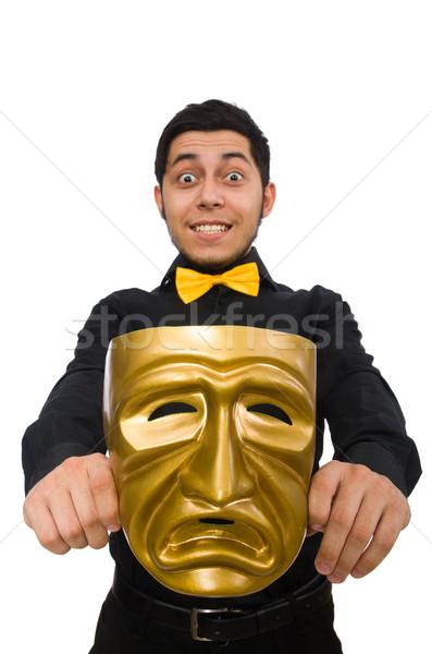 Fiatalember arany velencei maszk izolált fehér férfi Stock fotó © Elnur