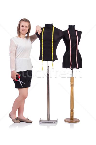 Vrouw kleermaker geïsoleerd witte mode werk Stockfoto © Elnur