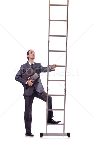 Businessman climbing the ladder isolated on white Stock photo © Elnur