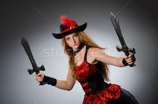 Foto d'archivio: Donna · pirata · sharp · arma · nero · Hat