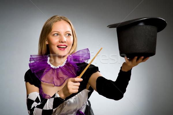Nő bűvész kéz mosoly öltöny portré Stock fotó © Elnur