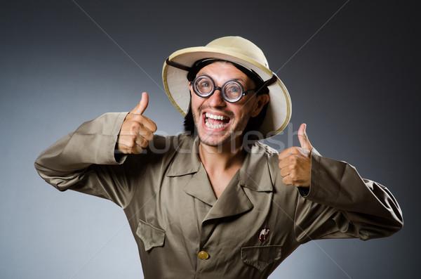 Drôle Safari chasseur fond fusil personne Photo stock © Elnur