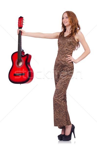 Photo stock: Femme · jouer · guitare · isolé · blanche · musique