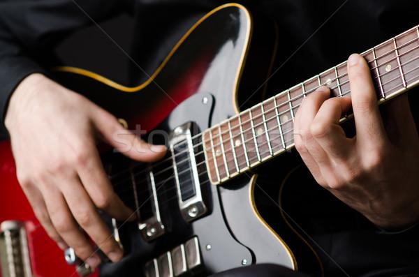 Férfi gitár koncert buli fém jókedv Stock fotó © Elnur