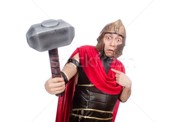 Gladiador martelo isolado branco vermelho engraçado Foto stock © Elnur