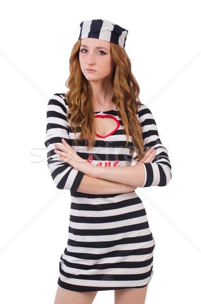 Stock fotó: Csinos · lány · fogoly · egyenruha · izolált · fehér