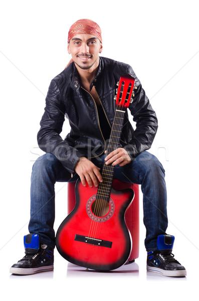 Uomo chitarra isolato uomo bianco bianco musica Foto d'archivio © Elnur