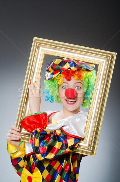 Clown fotolijstje grappig frame ruimte hoed Stockfoto © Elnur