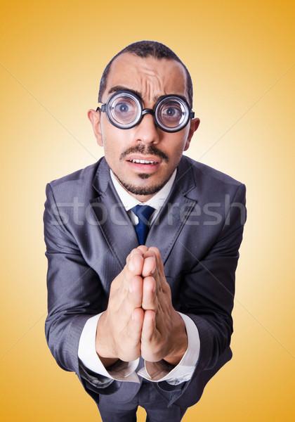 Funny nerd empresario aislado blanco negocios Foto stock © Elnur