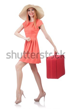 Pretty young girl in red dress holding trunk isolated on white Stock photo © Elnur