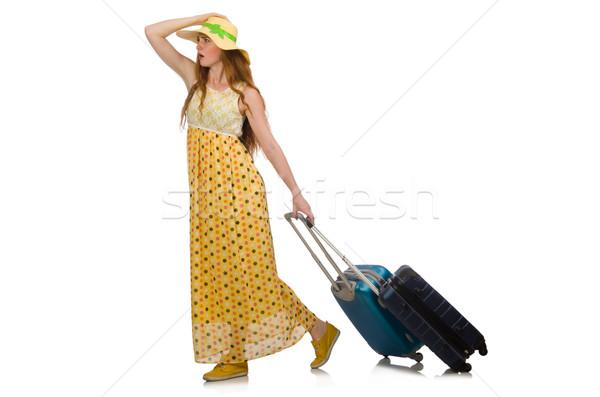 Kadın hazır yaz seyahat yalıtılmış beyaz Stok fotoğraf © Elnur