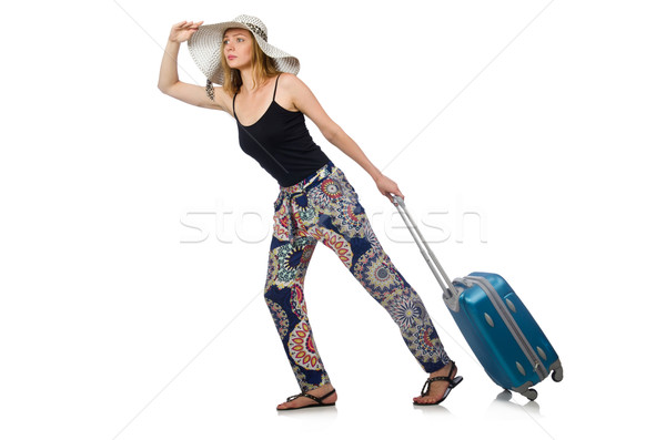 Woman ready for summer travel isolated on white Stock photo © Elnur