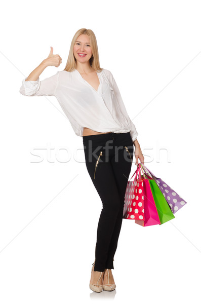 Smiling young woman isolated on white Stock photo © Elnur