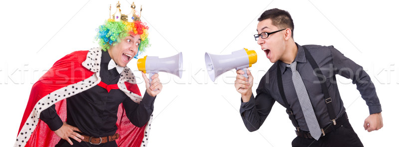 Businessman and clown isolated on white Stock photo © Elnur