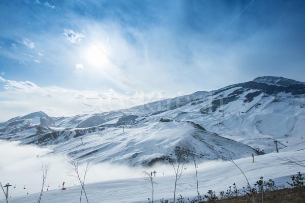 Montanhas inverno Azerbaijão paisagem neve azul Foto stock © Elnur