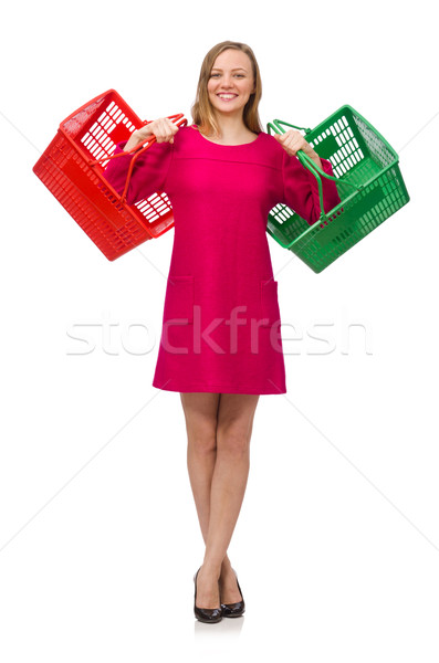 Woman with shopping cart isolated on white Stock photo © Elnur
