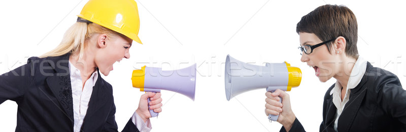 Young business lady screaming to loudspeaker Stock photo © Elnur