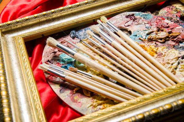 Művészet paletta iskola festék háttér oktatás Stock fotó © Elnur