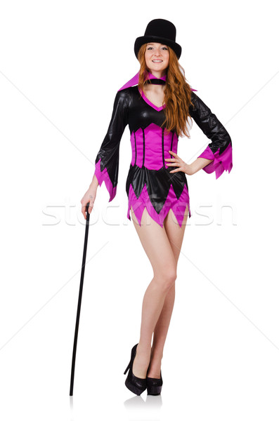 Girl in purple masquerade isolated on white Stock photo © Elnur