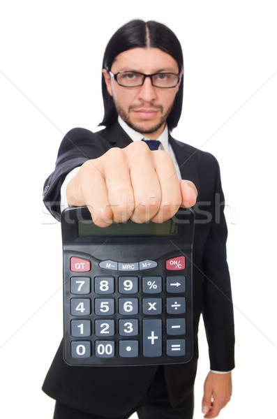 Man with calculator isolated on white Stock photo © Elnur