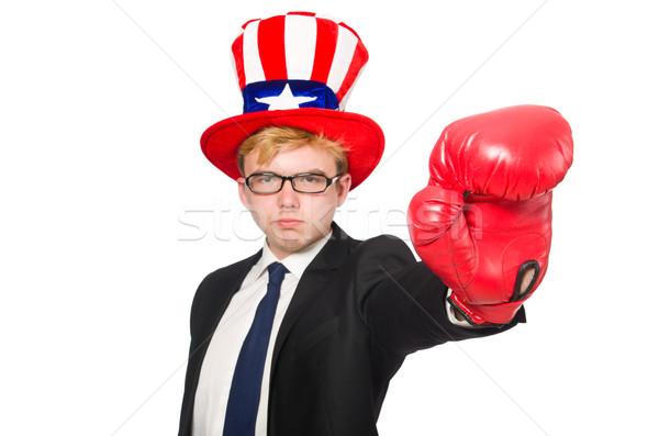 Férfi visel kalap amerikai szimbólumok sport Stock fotó © Elnur