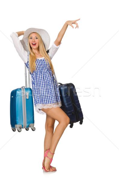 Donna pronto estate viaggio isolato bianco Foto d'archivio © Elnur