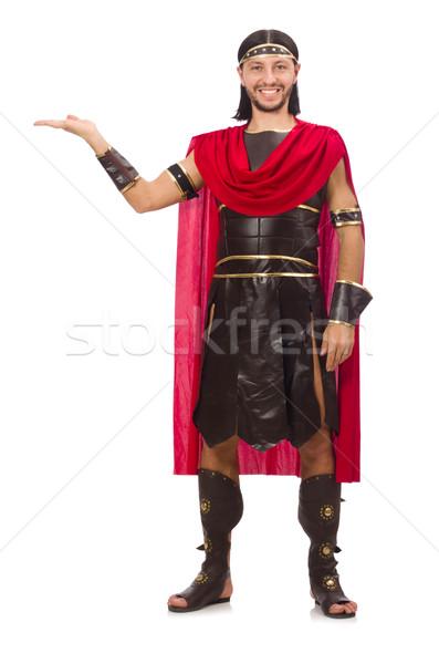 Gladiátor izolált fehér férfi piros ruházat Stock fotó © Elnur