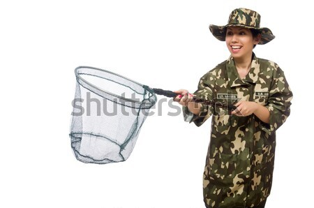 Girl in military uniform holding the gun isolated on white Stock photo © Elnur
