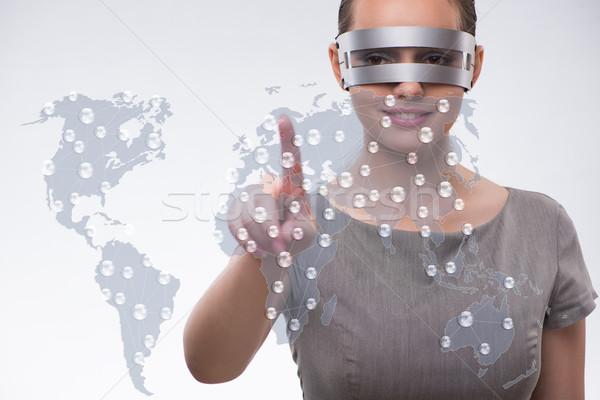 üzletasszony kisajtolás virtuális gombok futurisztikus üzlet Stock fotó © Elnur