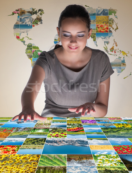 Young woman in abstract concept with nature photos Stock photo © Elnur