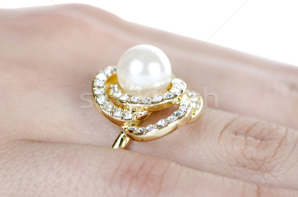 Stock photo: Jewellery ring worn on the finger