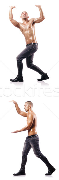 Ripped man pushing away virtual obstacle Stock photo © Elnur